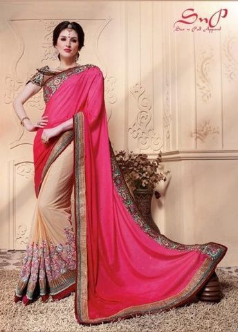 Designer pink and beige saree