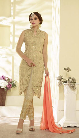 Beige designer straight suits with orange dupatta