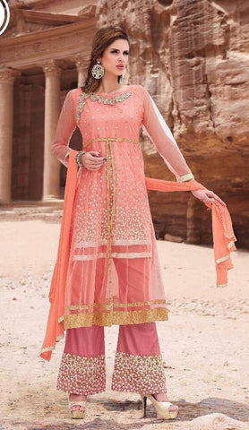 Pink designer long palazzo style salwar suits with chiffon dupatta and heavy embroidery