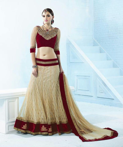 Beige , Maroon,Net,Heavy designer lehenga with heavy embroidery for wedding