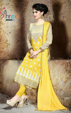 Designer yellow embroidered  straight knee length long salwar suits dress material