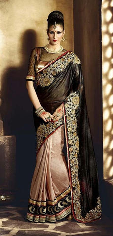 Licra,Black & beige,Designer wedding saree with heavy embroidery work