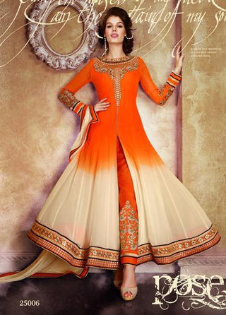 Orange and beige long designer georgette semi stitched suits