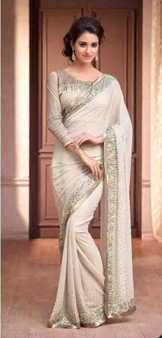 Silver screem saree 13006