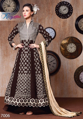 Brown long anarkali embroidered semi stitched suits with chiffon dupatta