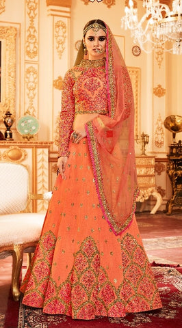 Designer Orange Silk Lehenga With Embroidery And With Choli, Dupatta