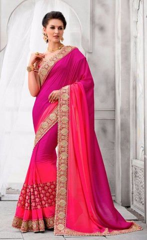 Purple , Pink,Silk,Heavy designer party wear saree