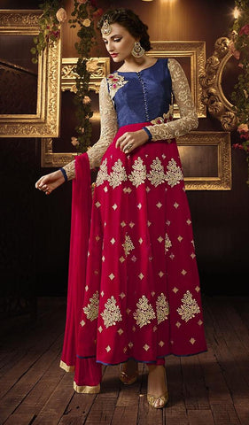Red , Blue,Silk,Designer party wear anarkali suits