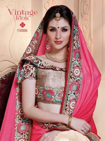 Pink and beige saree with embroidery