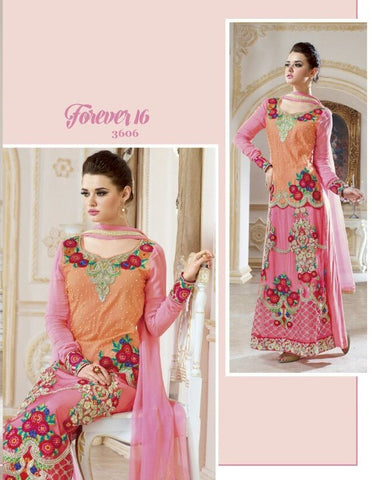 Pink and orange designer suit swith  unique embroidery on georgette with hand work on net