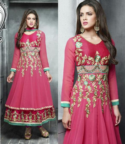 Designer heavy embroidered long anarkali suits with pink dupatta