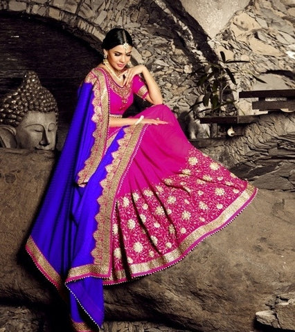 Blue & Pink Silk Saree With Pink Blouse