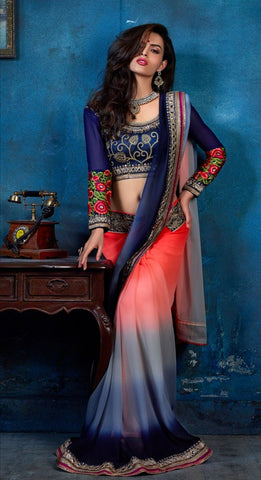 Designer Party Wear Multicolored Bemberg Embroidered Saree With Heavy Work On Blouse