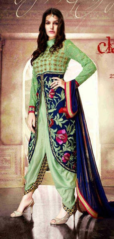 Green and blue designer embroidered suits