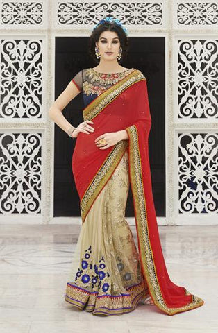 Red and beige with heavy embroidery work bridal saree