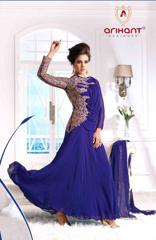 Blue designer long floor length heavy embroidery on top anarkali suits