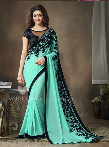 Cyan and black soft net saree with pure georgette embroidery