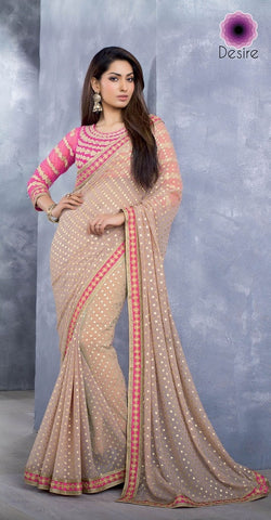 Saree Beige and pink,Georgette