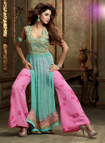Suits Blue , pink,Georgette , Net