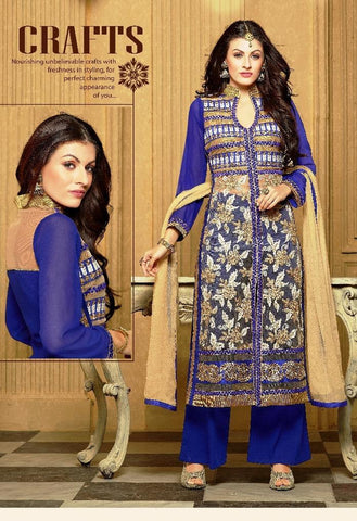 Blue , Beige,Fox Georgette,Designer straight suits knee length long suits
