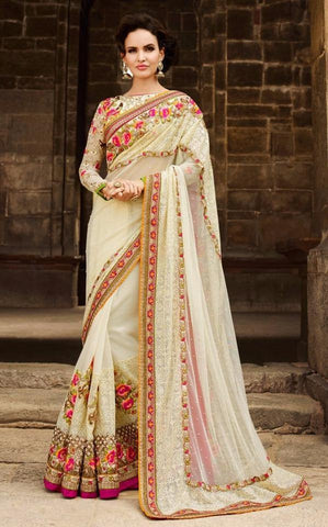 Cream,Net ,Heavy bridal wedding saree with heavy embroidery blouse