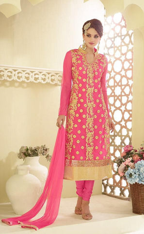 Embroidered pink straight long suits