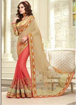 Peach , beige,Pure crape,Designer heavy wedding purpose embroidery saree