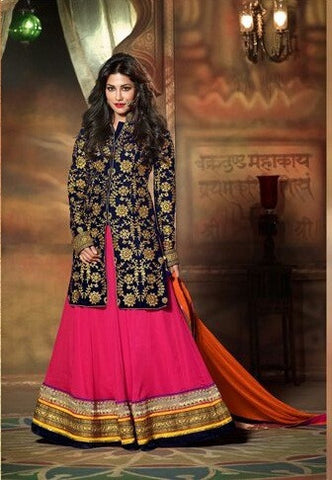 Pure micro velvet long jecket with handwork top on gergette with embroidery border and bottom and inner of santoon and dupatta of chiffon  Pink base with contrasting blue knee lenght velvet jacket with embroidery all over it