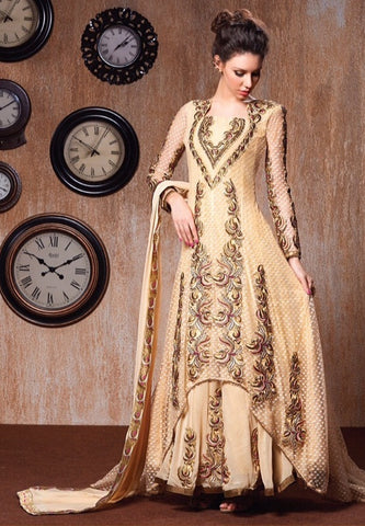 Beige anarkali long floor length semi stitched suits with heavy embroidered