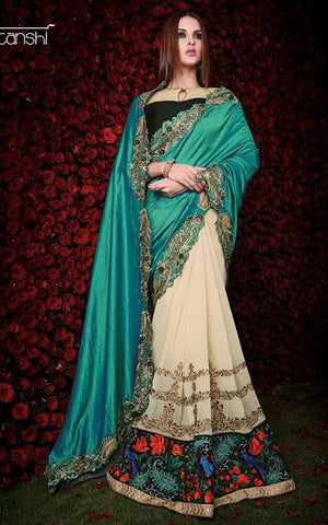 Desian Green and off white saree for parties,wedding and reception