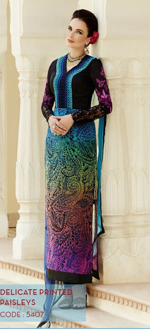heer suits Blue & Black,Viscose Georgette