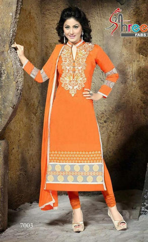 Orange straight long salwar suits dress material with orange dupatta