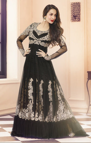 Heavy embroidered black long floor length anarkali semi stitched suits