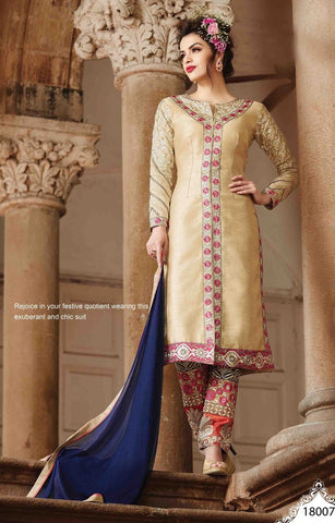 Designer embroidered straight knee length semi sitiched suits with blue bottom