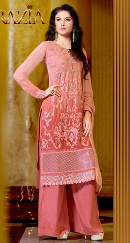 Designer pink embroidered knee length salwar suits with georgette fabric