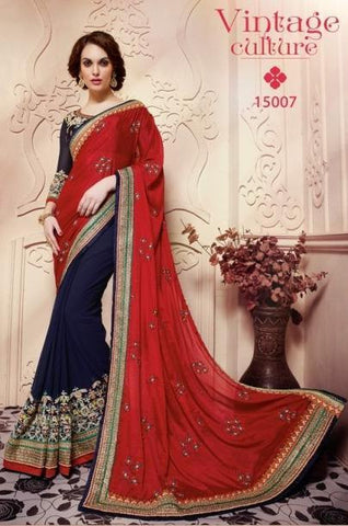 Designer red and blue saree with heavy base for parties and wedding