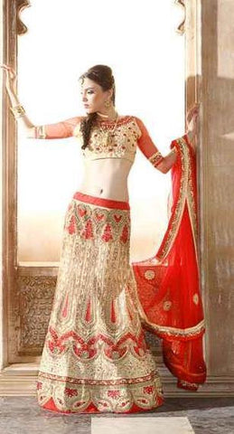 Beige , Red,Net,Designer lehenga,lehenga,wedding,heavy,embroidery,Kamyya