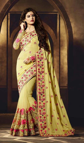 Georgette,Yellow,Designer wedding saree with heavy embroidery work