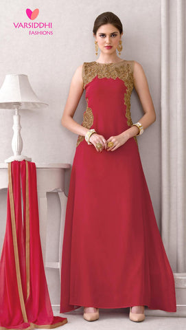 Red,Pure georgette,Anarkali party wear designer suits
