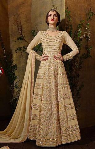 Beige Embroidered Georgette Abaya Style Anrakali Suits With Dupatta