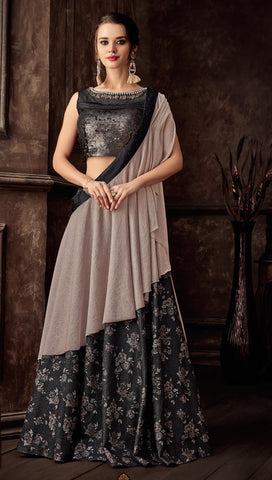 Black Fancy Jacquard Party Wear Lehenga With Pink Dupatta