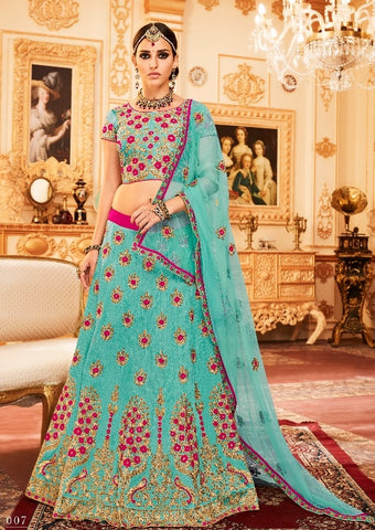 Blue Silk Lehenga With Work And With Blue Choli and Dupatta