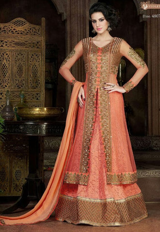 Orange,Chiffon,Heavy designer anarkali party wear suits