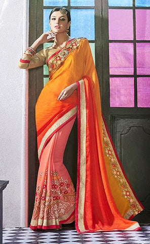 Peach,Georgette,Jacquard,Party wear designer heavy saree