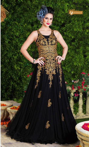 Black heavy embroidery long designer floor length anarkali gown with chiffon dupatta