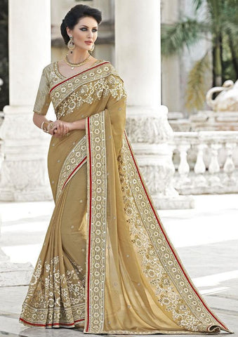 Beige,Georgette,Net,Heavy bridal wedding saree with heavy embroidery blouse