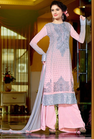 Pink and grey designer long knee length georgette salwar suits