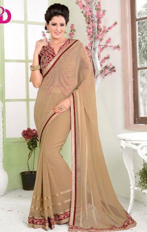 Beige , Red,Georgette,Designer party wear saree with designer blouse