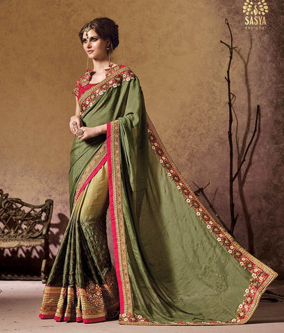 Green and dark pink color saree for wedding and festival