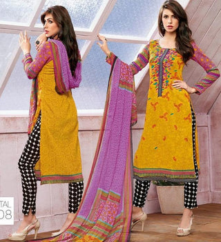 Yellow printed salwar suits dress material knee length straight  with printed dupatta